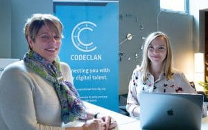 CodeClan's CEO and graduate Iona in CodeClan Edinburgh