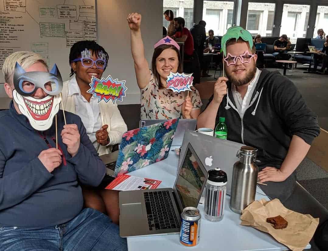 Four students having fun at CodeClan
