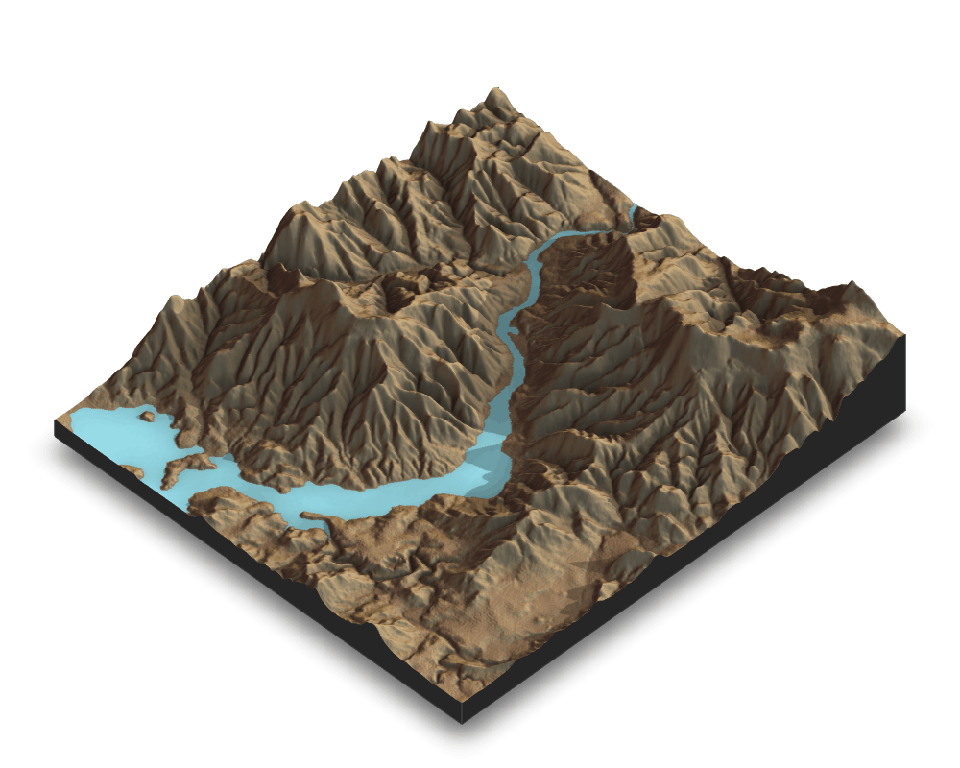 A square sample of a 3D visualisation of a landscape, showing mountains in brown and a river in blue. The visualised landscape appears in computer graphics.
