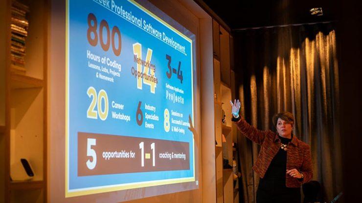 CodeClan CEO Melinda Matthews-Clarkson speaks to partners at CitizenM in Glasgow