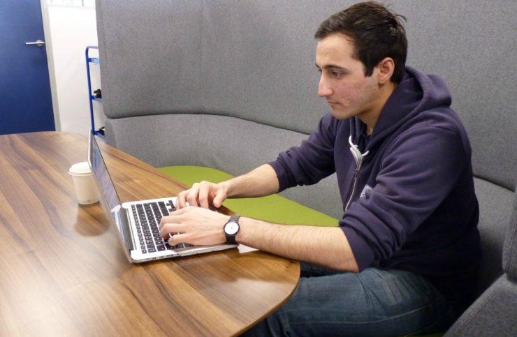 Peter working at laptop