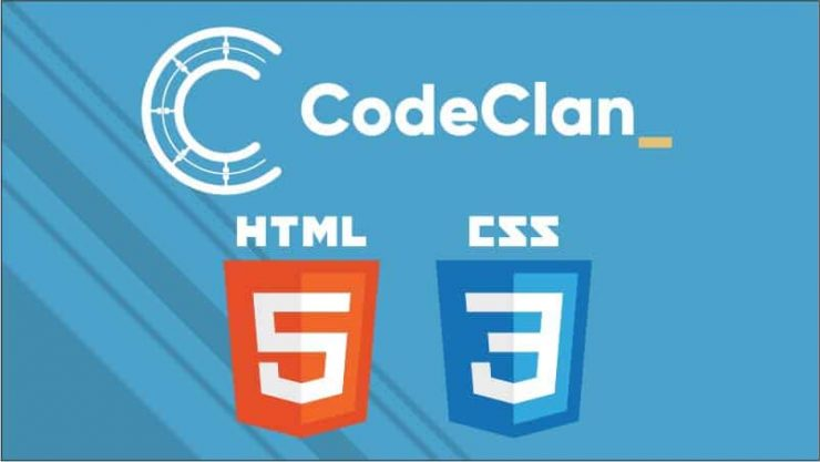 CodeClan logo at the top, HTML5 and CSS3 logos at the bottom. Light blue background.